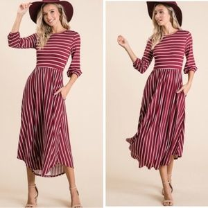Striped Puff Sleeve Midi Dress